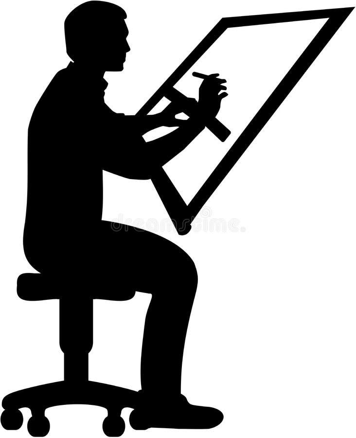 desenhador Homem na mesa de projeto ilustração stock