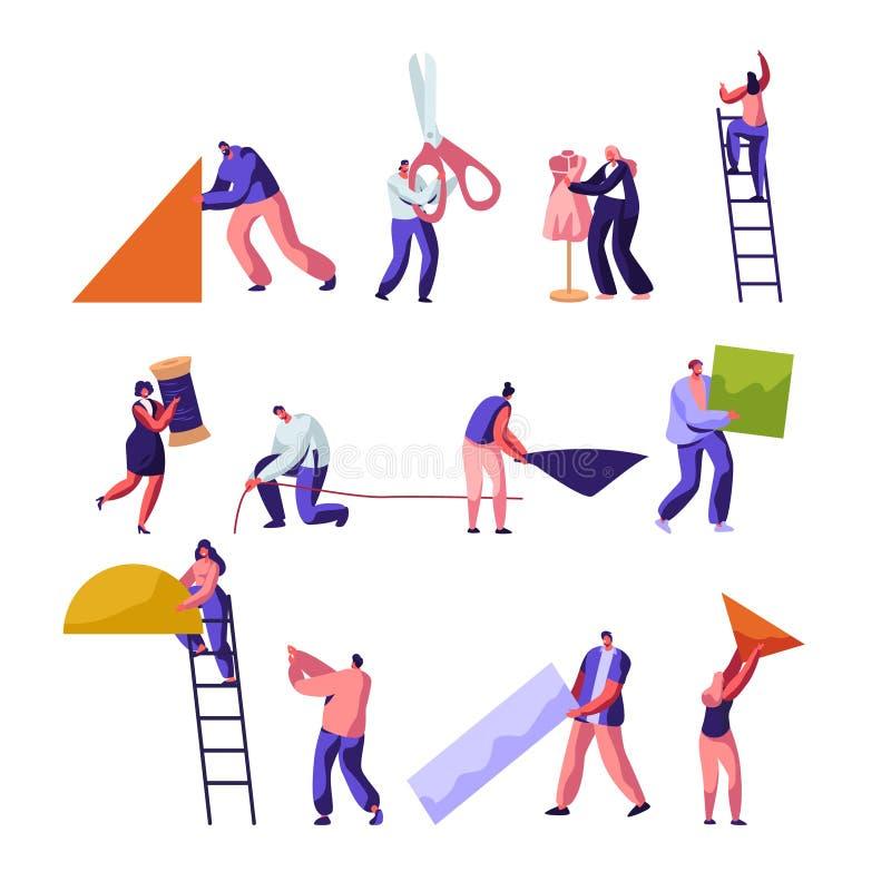 desenhadores Costura e grupo criativo da profissão dos trabalhadores da oficina O projeto da forma, costureiras cria o equipament ilustração do vetor
