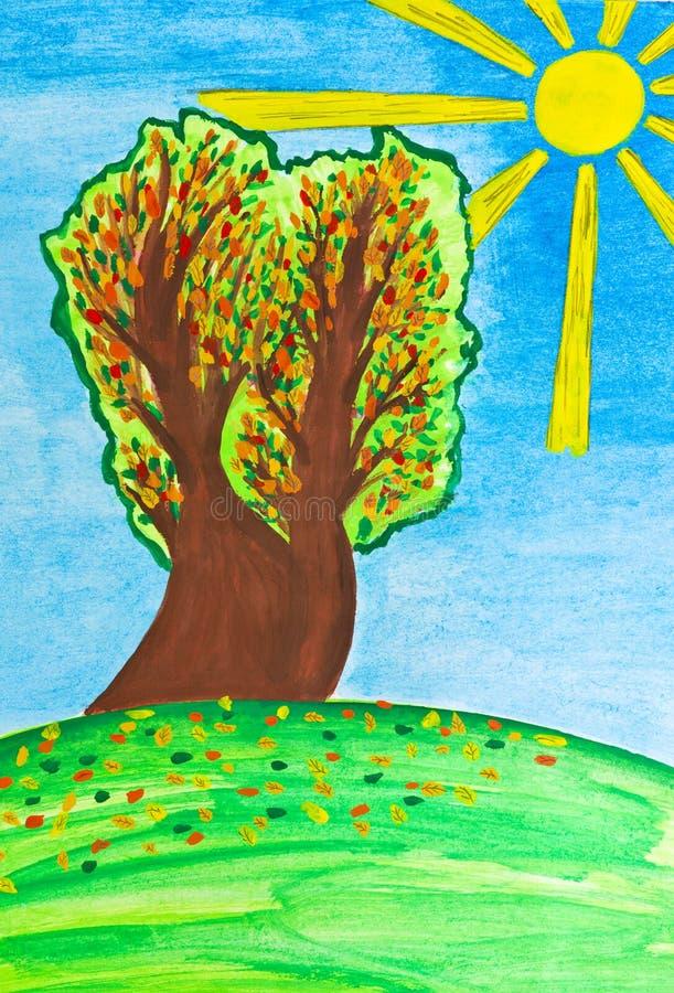 Desenhando uma queda da folha do outono ilustração do vetor