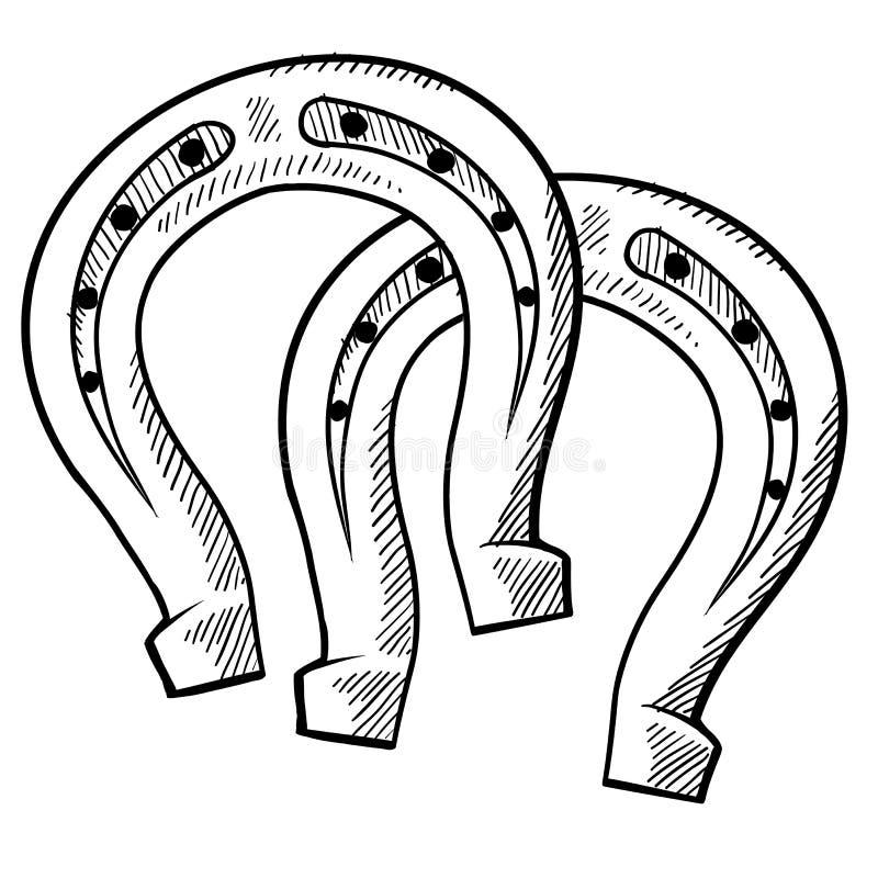 Desenhar afortunado das ferraduras ilustração do vetor