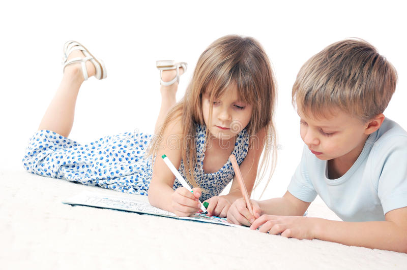 Desenhar das crianças imagens de stock