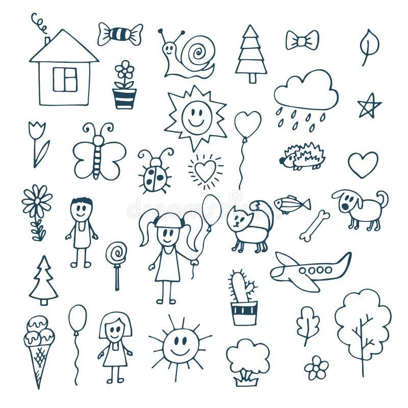 Desenhar das crianças Grupo da garatuja de objetos da vida de uma criança ilustração royalty free