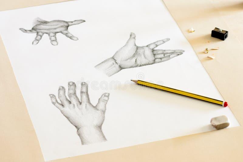 Desenhar das mãos imagens de stock