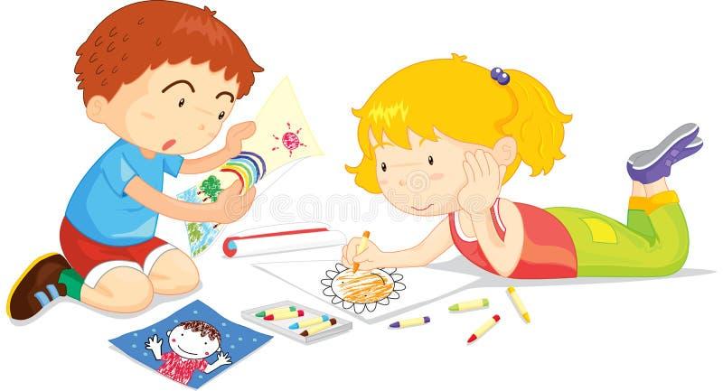 Desenhar dos miúdos ilustração stock