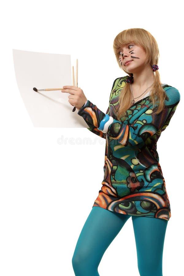 Download Desenhe um retrato foto de stock. Imagem de blank, fêmea - 16874592