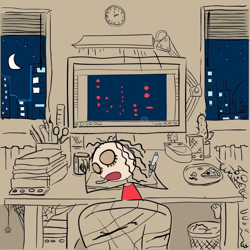 Desenhista cansado da menina que dorme no computador Conceito de trabalho autônomo ilustração do vetor