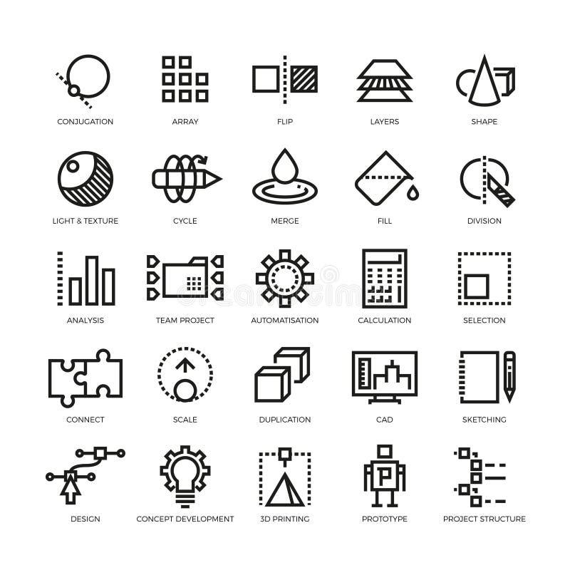 Desenhista do Cad, inovação futura, base de dados, arquitetura, linha modelo ícones do vetor da impressão 3d ilustração do vetor