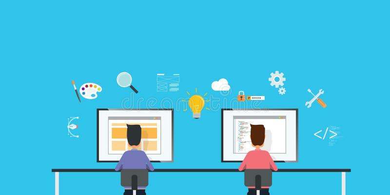 Desenhista e programador web da Web que trabalham junto no local de trabalho ilustração do vetor