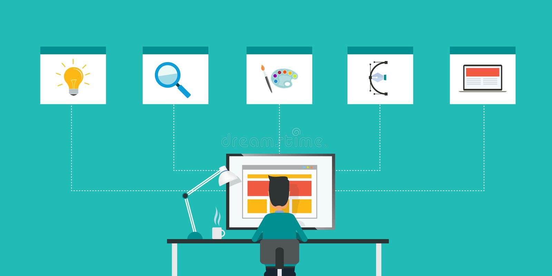 Desenhista liso da Web do vetor do negócio e conceito de trabalho do homem de negócios ilustração stock