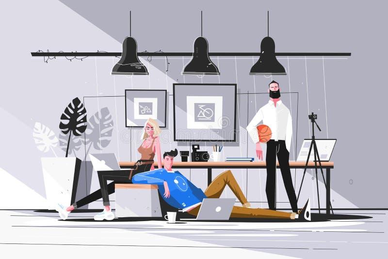 Desenhistas que trabalham no estúdio ilustração royalty free