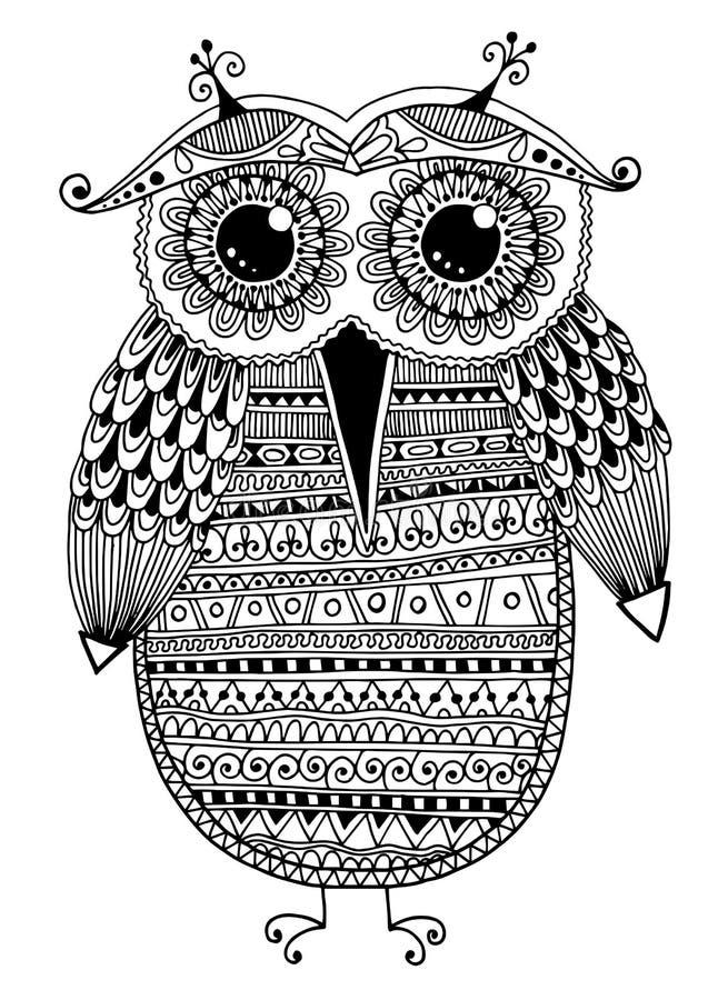Desenho étnico original preto e branco da tinta da coruja ilustração do vetor