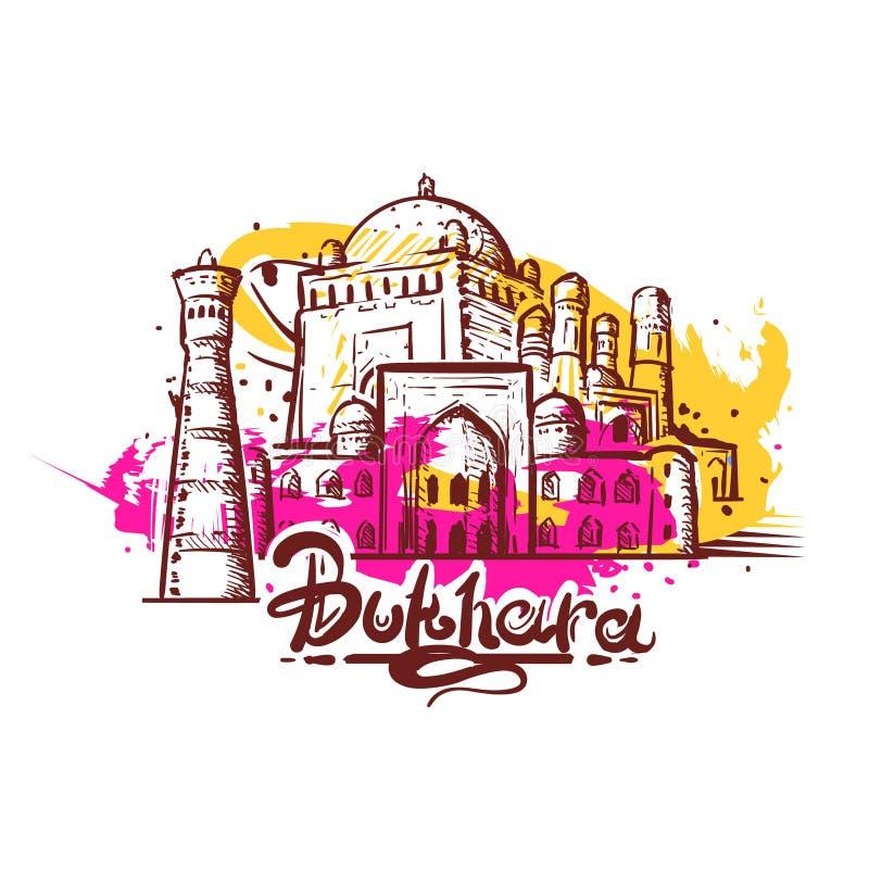 Desenho abstrato da cor de Bukhara Ilustração do esboço de Bukhara ilustração do vetor