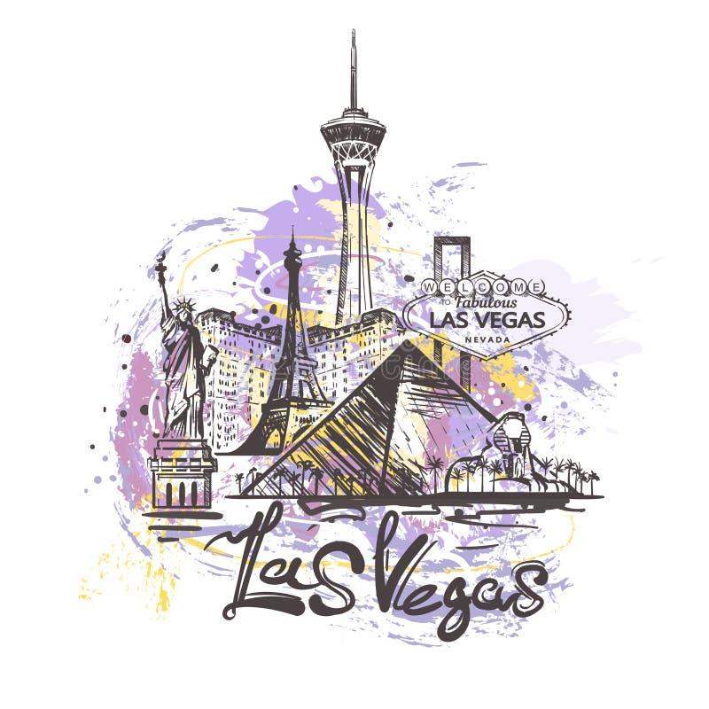 Desenho abstrato da cor de Las Vegas Ilustração do vetor do esboço de Las Vegas fotos de stock