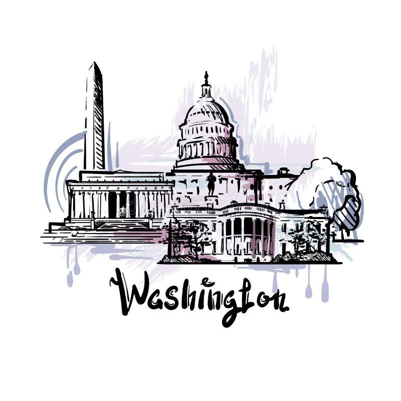 Desenho abstrato da cor de Washington Ilustração do esboço de Washington ilustração do vetor
