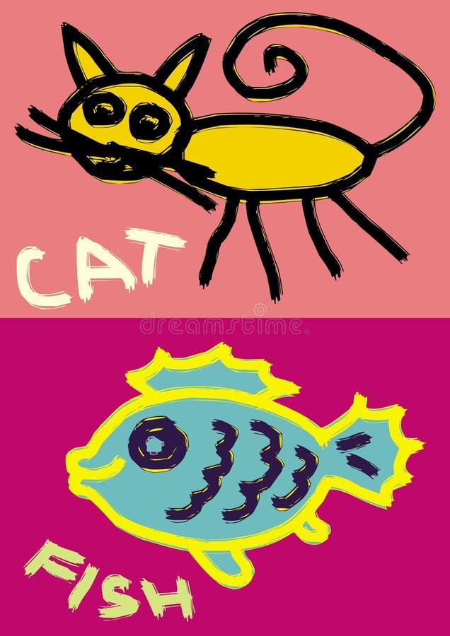 Desenho acessível do gato e dos peixes ilustração royalty free