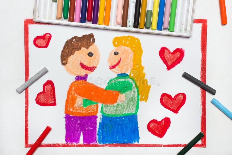 Desenho: Afago feliz dos pares cercado de cor vermelho fotografia de stock royalty free