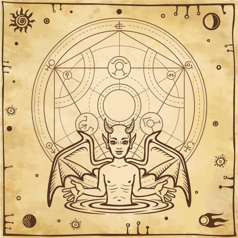 Desenho alquímico: demônio pequeno, círculo de um homúnculo Esotérico, místico, ocultismo ilustração stock