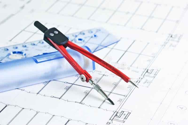 Desenho arquitectónico fotografia de stock