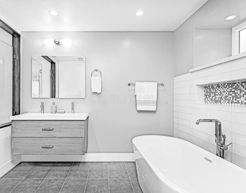 Desenho arquitetónico da ilustração moderna do banheiro fotografia de stock royalty free
