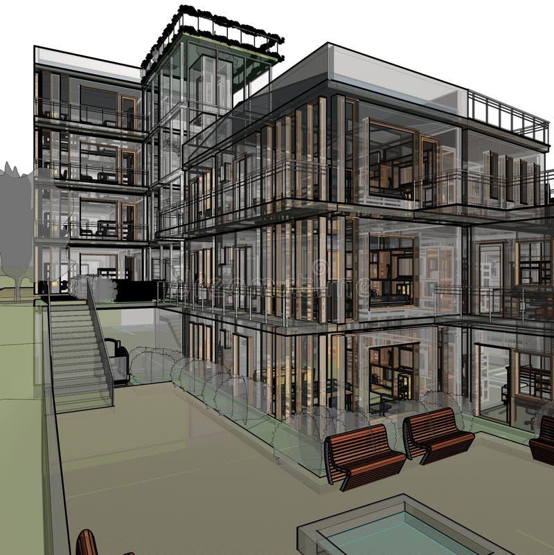 Desenho arquitetónico e perspectiva imagem de stock royalty free