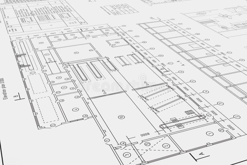 Desenho arquitetónico liso e plano fotografia de stock royalty free