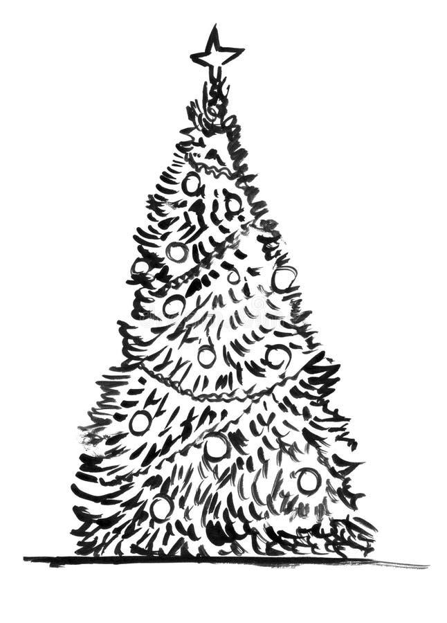 Desenho artístico da mão do Grunge de tinta preta da árvore de Natal ilustração royalty free