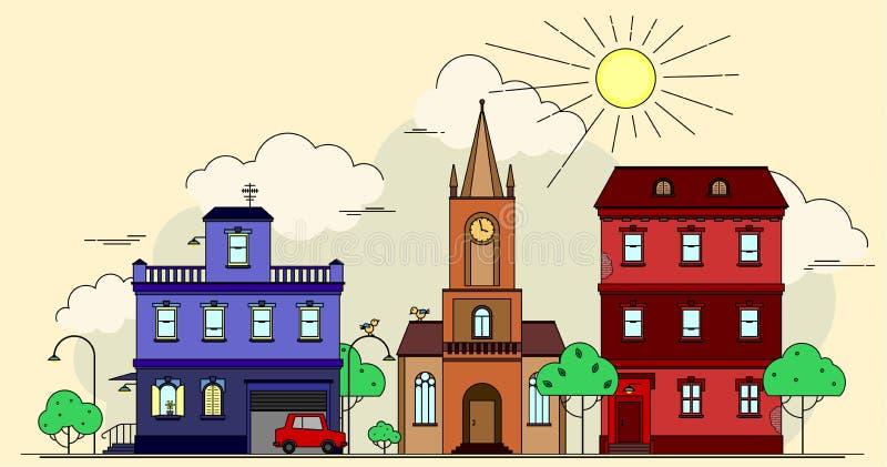 Desenho artístico do vetor do projeto de construções europeias da cidade, de igreja, de carro, de pássaros engraçados e de lâmpad ilustração royalty free
