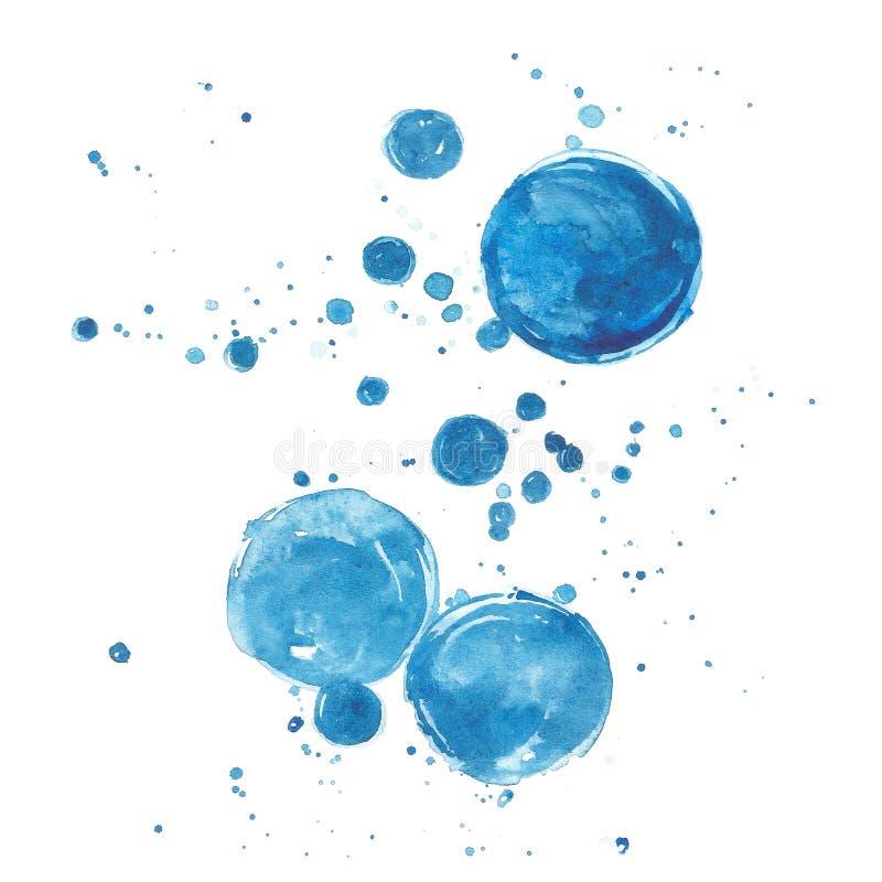 Desenho azul da mão da bolha do fundo da aquarela ilustração royalty free