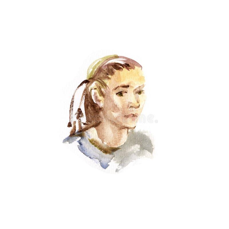 Desenho bonito da aquarela do retrato da cara da mulher na ilustração a mão livre do estilo do esboço ilustração do vetor