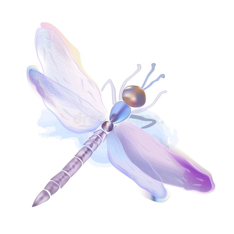 Desenho bonito da ilustração da libélula da aquarela fotografia de stock royalty free