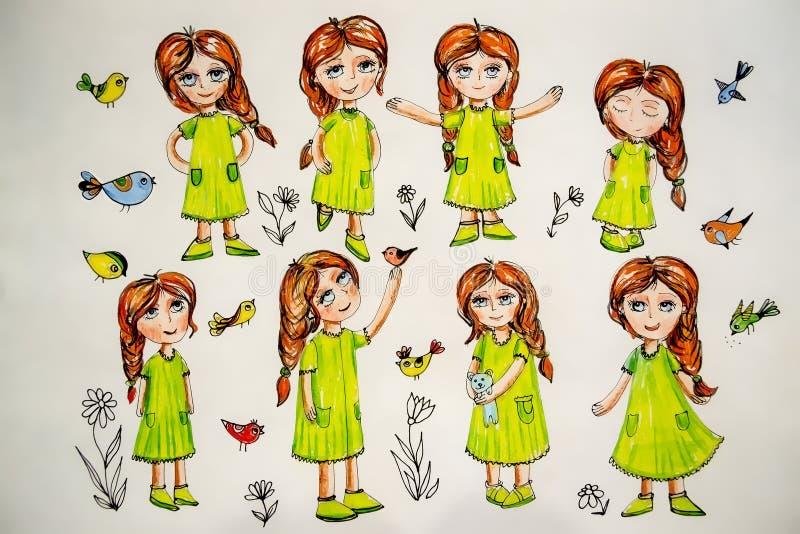 Desenho bonito de uma menina com pássaros ilustração do vetor