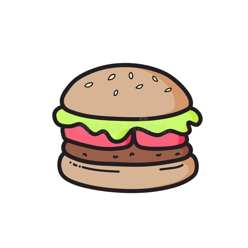 Desenho bonito do cheeseburger Comida lixo Vetor isolado Ilustração ilustração do vetor