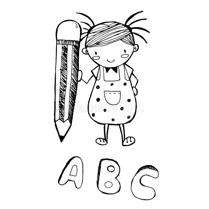 Desenho bonito dos desenhos animados da menina na linha preta vetor da garatuja ilustração stock