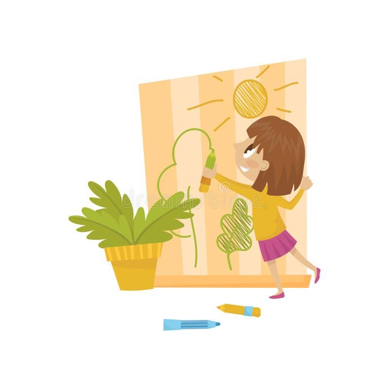 Desenho bonito na parede, criança alegre da menina das gorilas, ilustração má do vetor do comportamento da criança em um fundo br ilustração stock
