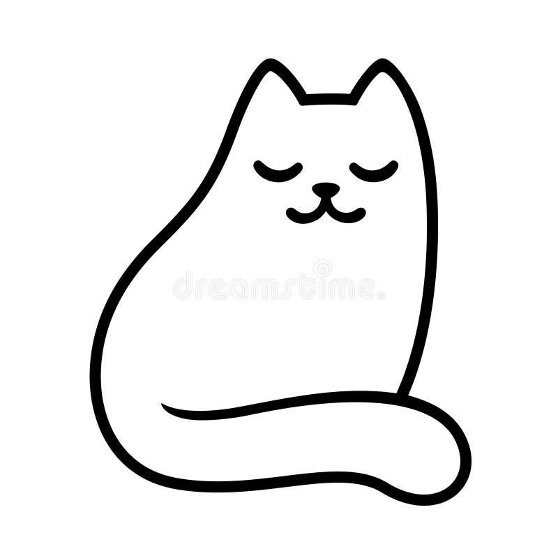 Desenho branco do gato dos desenhos animados ilustração stock