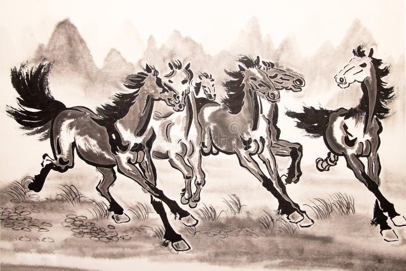 Desenho chinês do cavalo da tinta ilustração stock