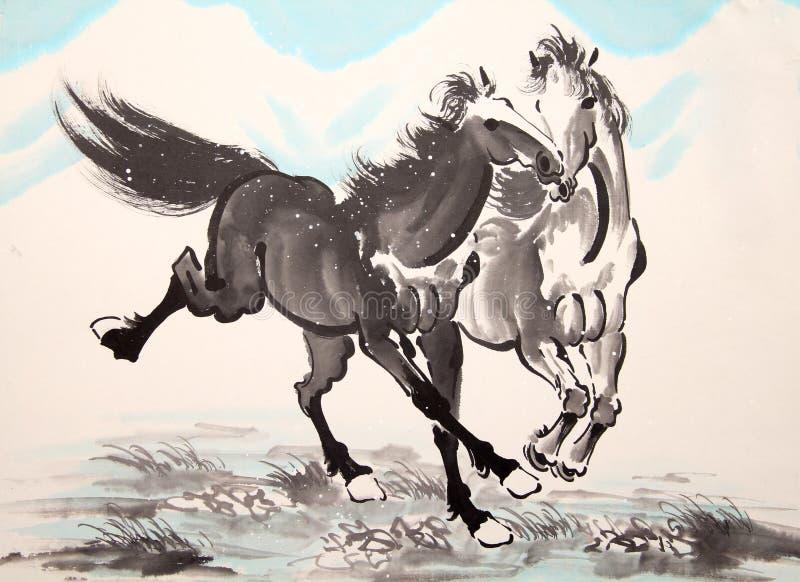 Desenho chinês do cavalo da tinta ilustração do vetor