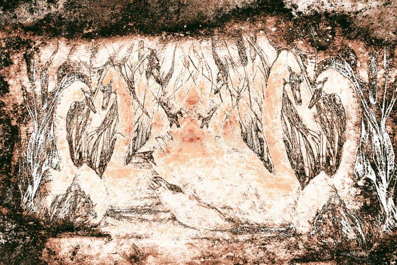 Desenho cinzelado decorativo do estilo das cisnes que nadam na lagoa com juncos, monocromático ilustração stock