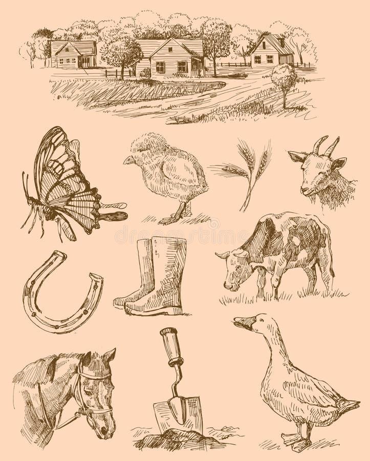 Desenho coleção-handmade da exploração agrícola ilustração royalty free