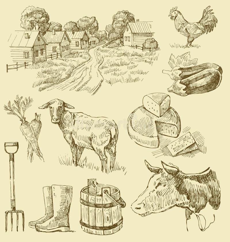 Desenho coleção-handmade da exploração agrícola ilustração stock