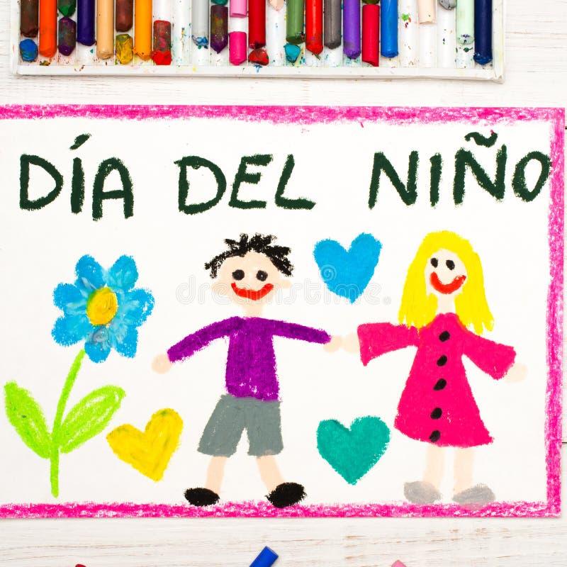 Desenho colorido: Cartão espanhol do dia do ` s das crianças ilustração royalty free