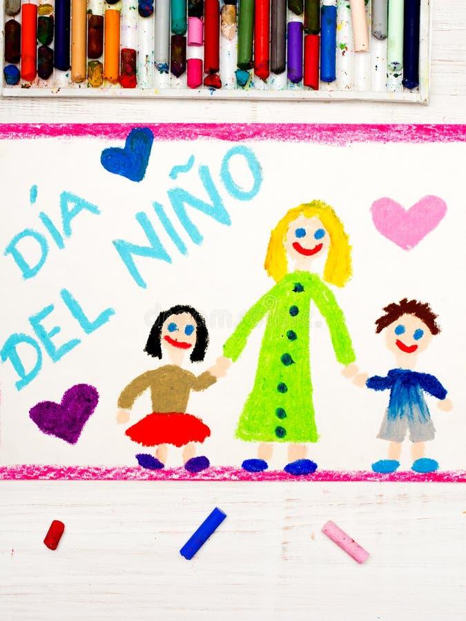 Desenho colorido: Cartão espanhol do dia do ` s das crianças ilustração do vetor