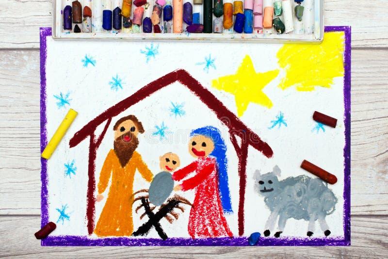 Desenho colorido: Cena da natividade Tempo do Natal ilustração do vetor