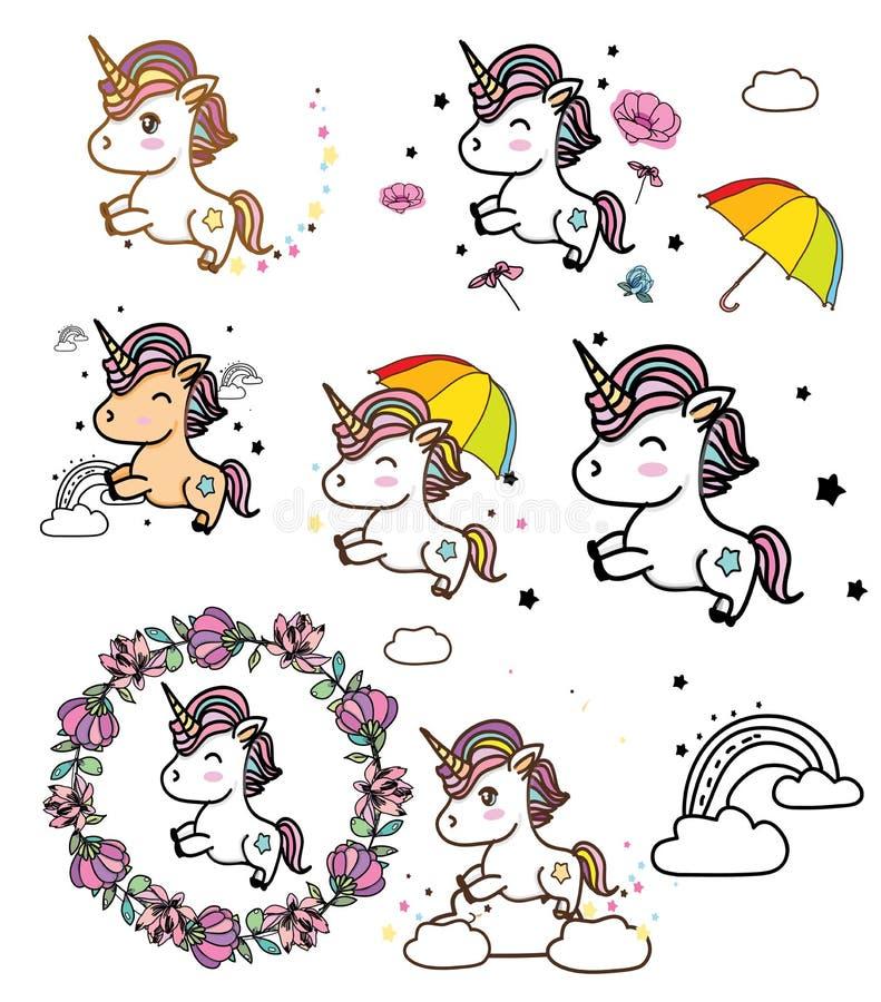 Desenho colorido com unicórnios ilustração stock