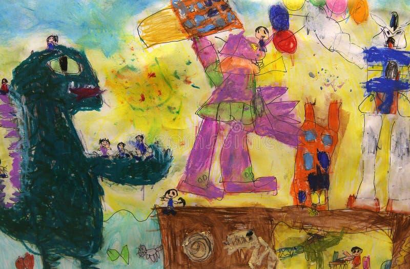 Desenho colorido da criança imagem de stock