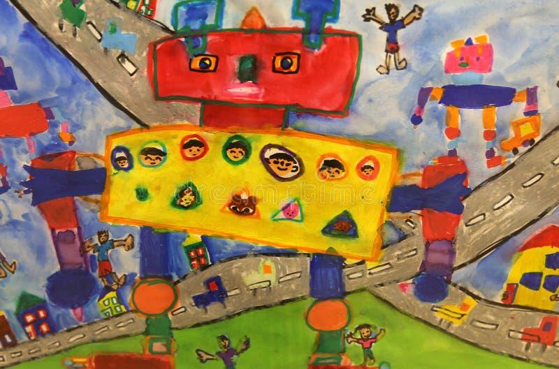 Desenho colorido da criança fotografia de stock