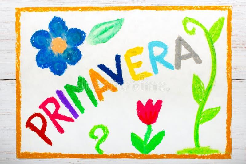 Suficiente Desenho Colorido: Mola Da Palavra PRIMAVERA Imagem de Stock  YB17