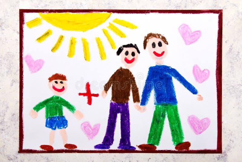 Desenho colorido: Pais alegres felizes e seu filho adotado  ilustração do vetor