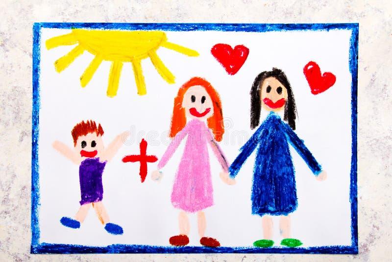 Desenho colorido: Pais lésbicas felizes e seu filho adotado  ilustração do vetor
