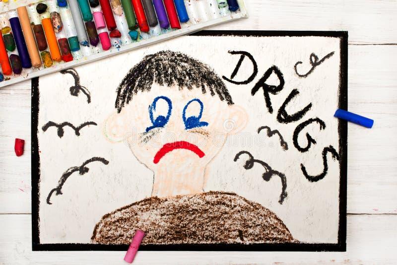 Desenho colorido: Pessoa viciado da droga imagem de stock